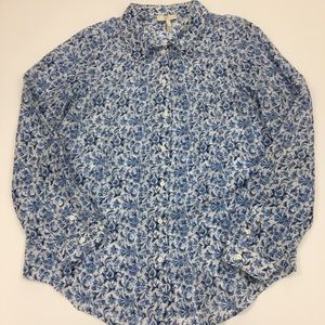 Joie XS blue floral semi sheer blouse top